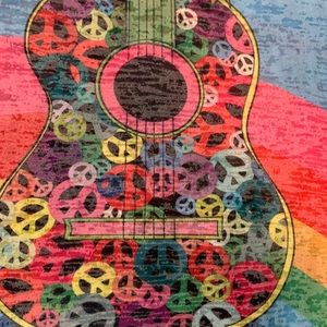 Awake Inc Tee w/ Guitar, Rainbow, Peace Graphics